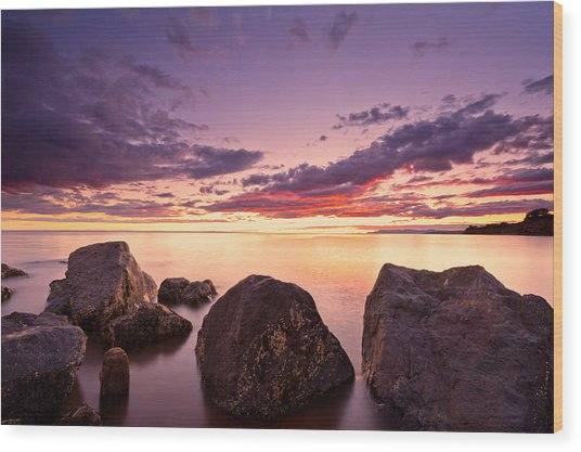 Sea At Sunset The Sky Is In Beautiful Dramatic Color Wood Print