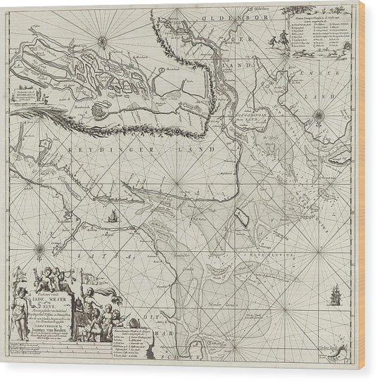 Sea Chart Of Part Of The Elbe, The Weser And Jadebusen Wood Print by Jan Luyken And Johannes Van Keulen I