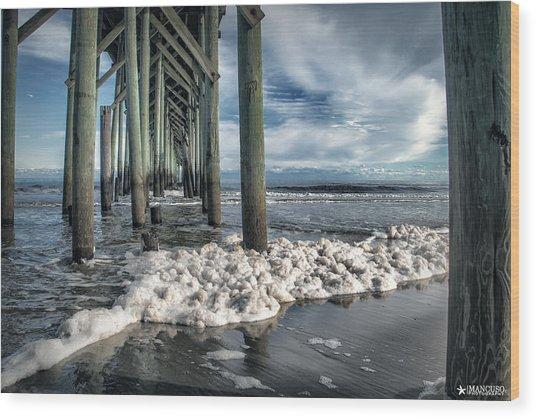 Sea Foam And Pier Wood Print