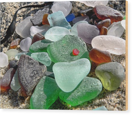 Sea Glass In Multicolors Wood Print