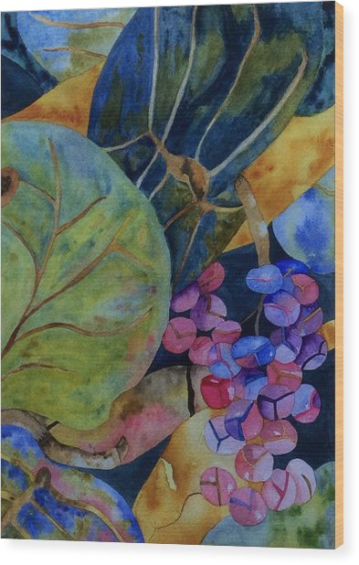 Wood Print featuring the painting Sea Grapes by Patti Ferron