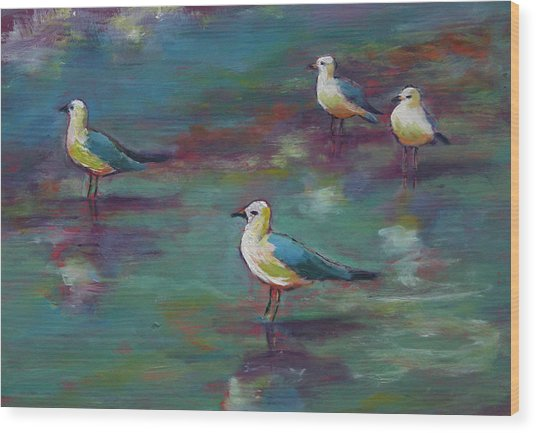 Sea Gulls Beach Bums Wood Print