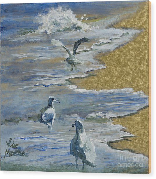Sea Gulls With Gold Leaf By Vic Mastis Wood Print