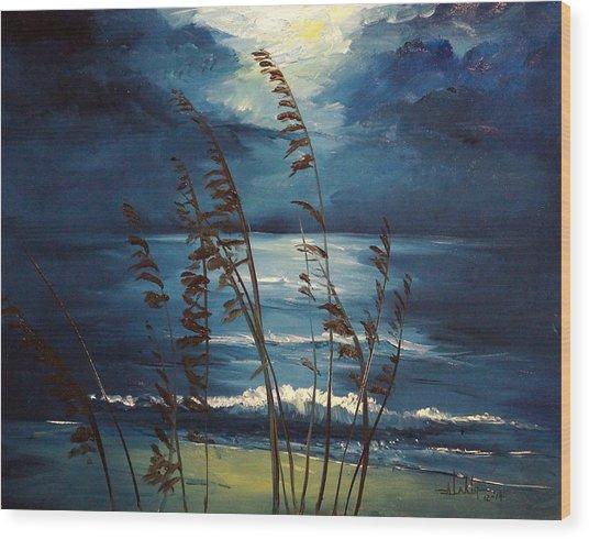 Sea Oats And Moonlight Wood Print