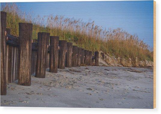 Sea Oats And Pilings Wood Print