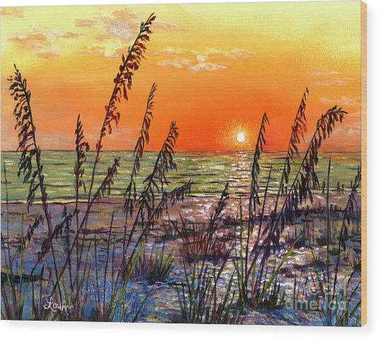 Sea Oats Sunset Wood Print