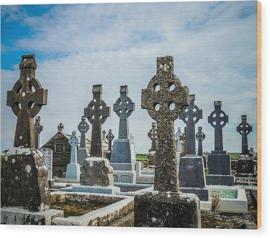 Sea  Of Celtic Crosses Wood Print