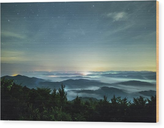 Sea Of Clouds Under The Stars Wood Print