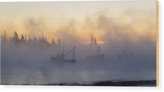 Sea Smoke Down East Maine  Wood Print