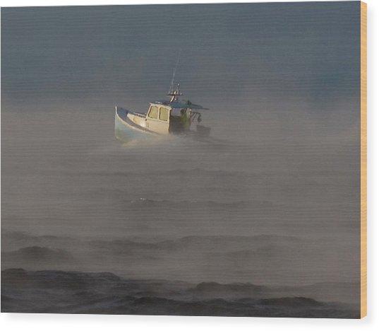 Sea Smoke Lobster Boat Wood Print