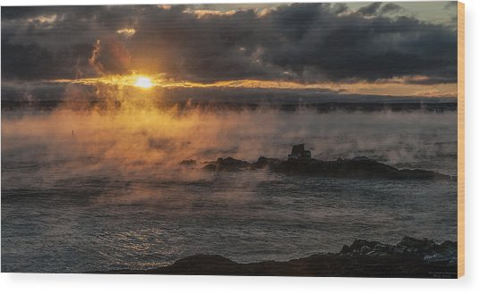 Sea Smoke Sunrise Wood Print