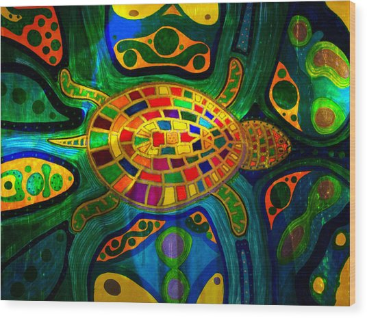 Sea Turtle - Abstract Ocean - Native Art Wood Print