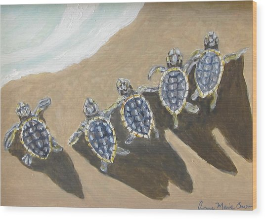 Sea Turtle Babes Wood Print