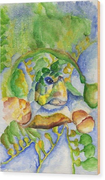 Sea Turtle Hideaway Wood Print