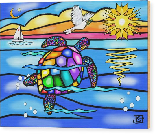 Sea Turtle In Turquoise And Blue Wood Print