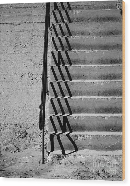 Sea Wall Steps Wood Print