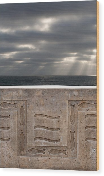 Sea Walls And Light Shafts Wood Print by Peter Tellone