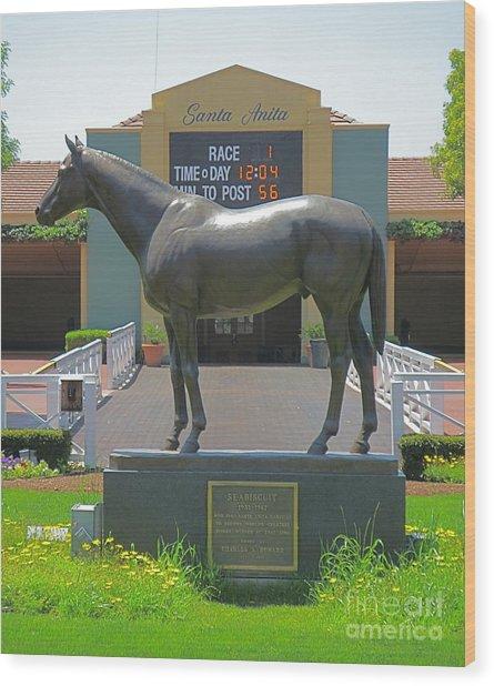 Seabiscuit Statue At Santa Anita Race Track  Wood Print