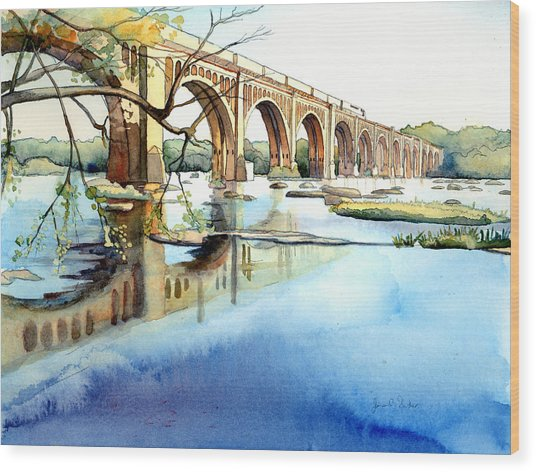 Seaboard Bridge Crossing The James  Wood Print
