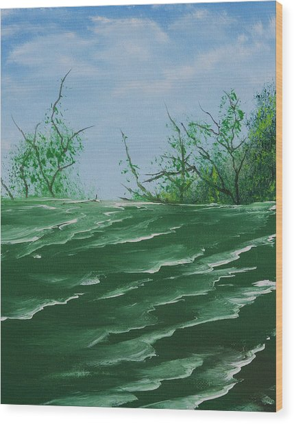 Seafoam Surf Wood Print