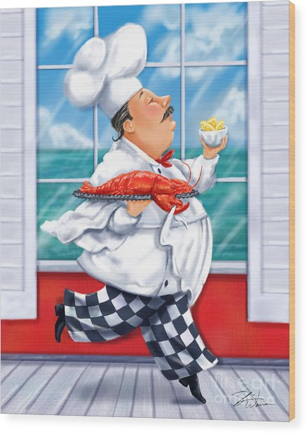 Seafood Chefs-live Lobster Wood Print
