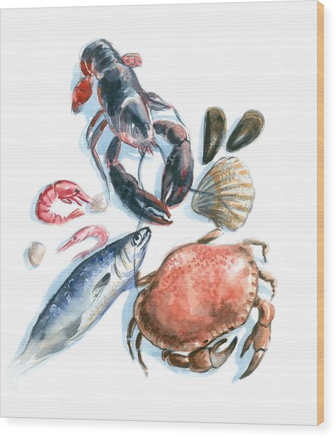 Seafood Watercolor Wood Print by Axllll