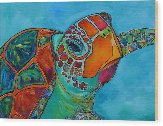 Seaglass Sea Turtle Wood Print
