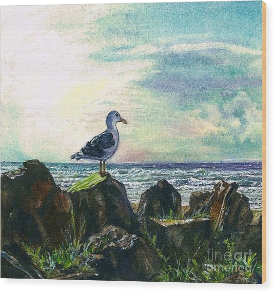 Seagull Lookout Wood Print