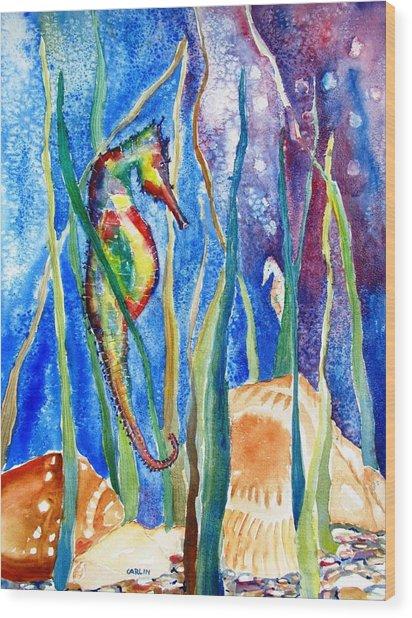 Seahorse And Shells Wood Print