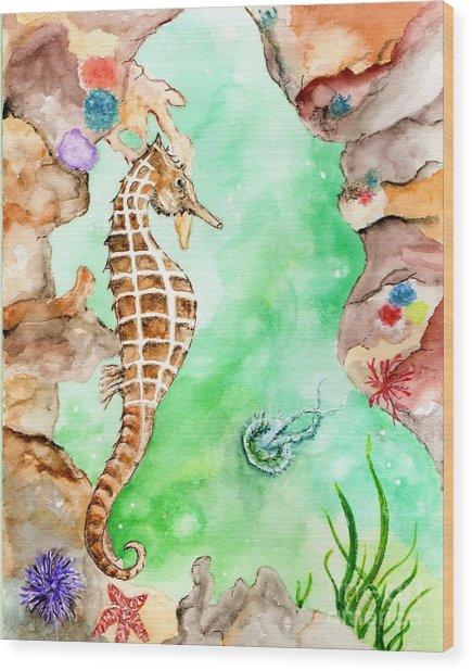 Seahorse Cave Wood Print
