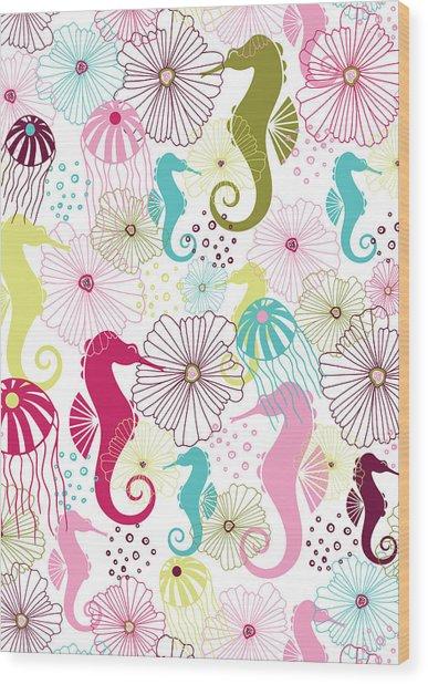 Seahorse Flora Wood Print