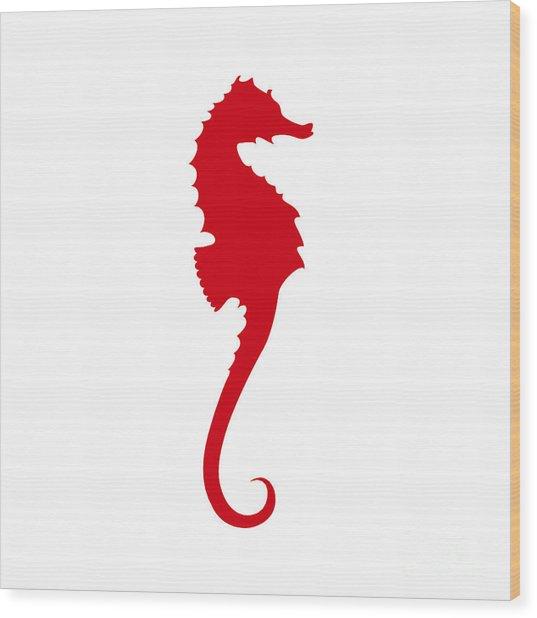 Seahorse In Red Wood Print