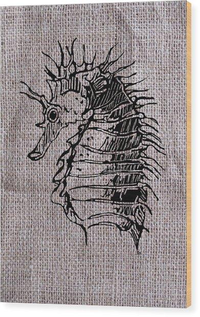 Seahorse On Burlap Wood Print