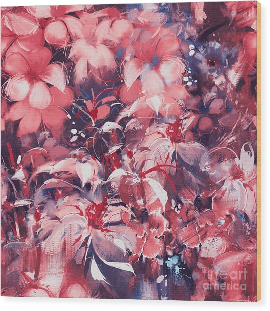 Seamless Abstract Flowers,oil Painting Wood Print by Tithi Luadthong