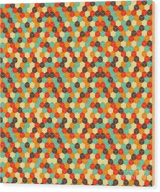 Seamless Hexagonal - Cube, Cubic Wood Print by Ravennka