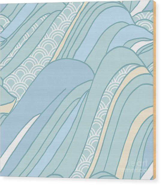 Seamless Japanese Pattern In Pastel Wood Print by Hasselnott