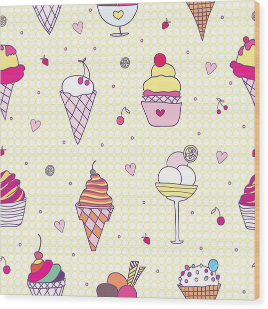 Seamless Pattern Delicious Ice Cream Wood Print