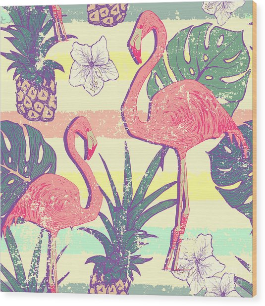 Seamless Pattern With Flamingo Birds Wood Print
