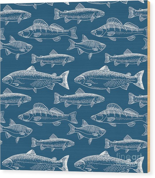 Seamless Pattern With Hand Drawn Fish Wood Print by Radiocat