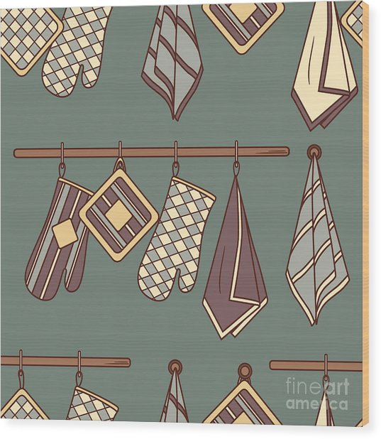 Seamless Pattern With Kitchen Textiles Wood Print by Talirina