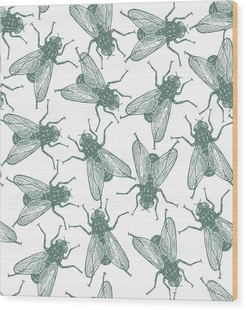 Seamless Vector Flies Pattern In Wood Print by Lestyan