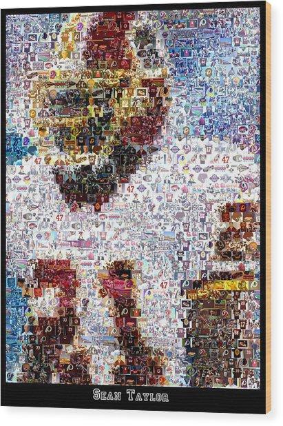 Sean Taylor Mosaic Wood Print