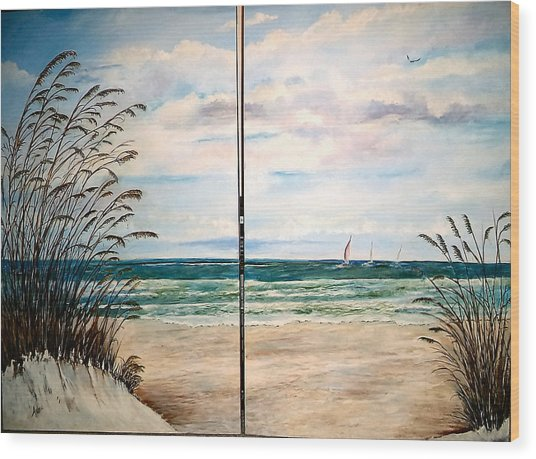 Seaoats On The Beach Wood Print