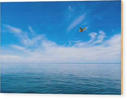 Seaplane Over Lake Superior   Wood Print