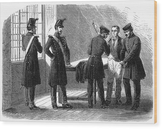 Searching A Suspect At A Prefeture Wood Print by Mary Evans Picture Library