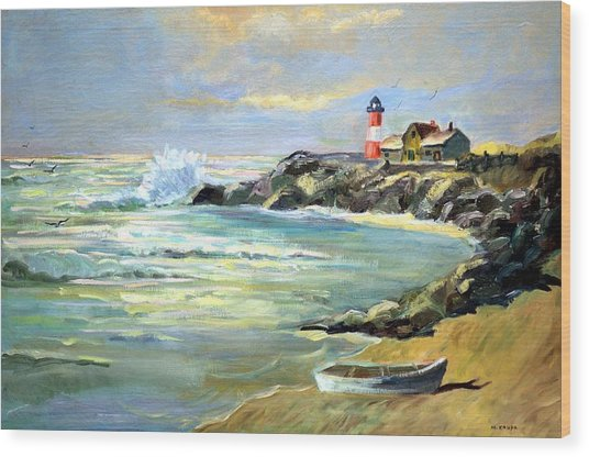 Seascape Lighthouse By Mary Krupa Wood Print