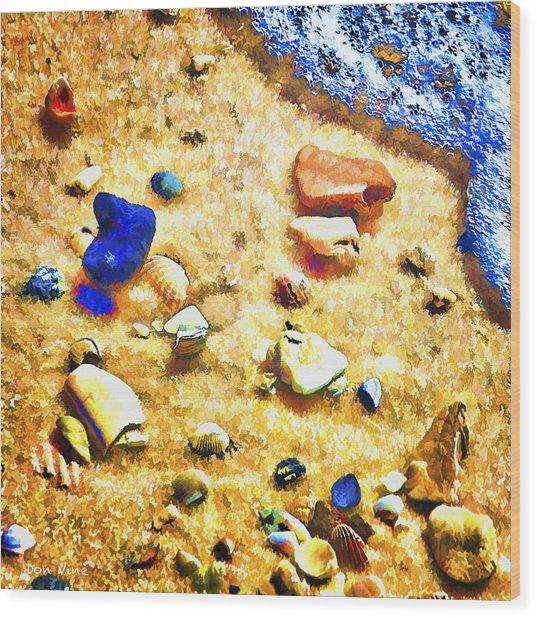 Seashells And Surf Wood Print