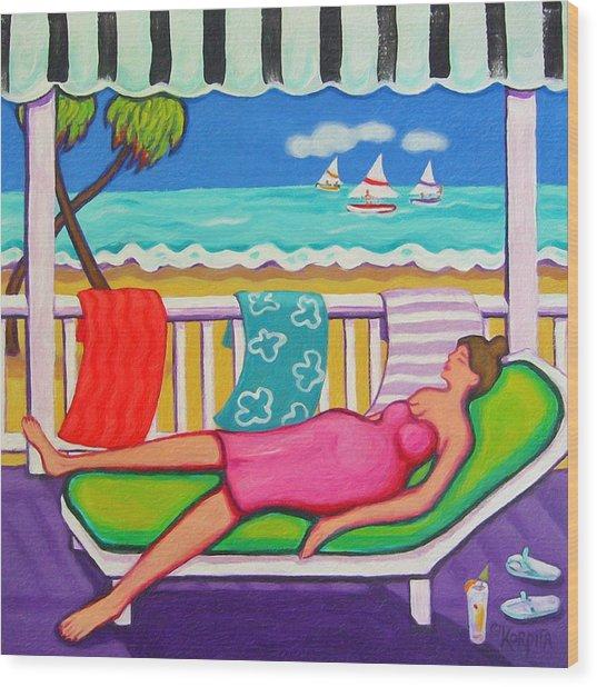 Seaside Siesta Wood Print