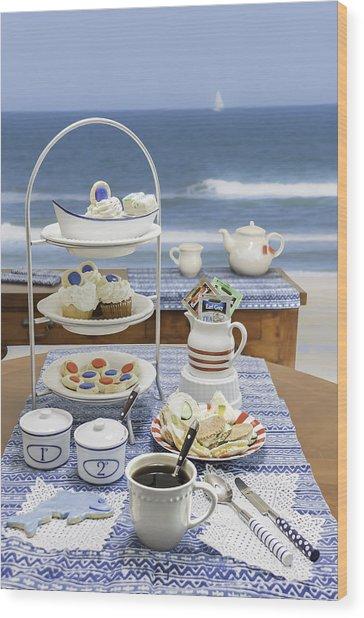 Seaside Tea Party Wood Print