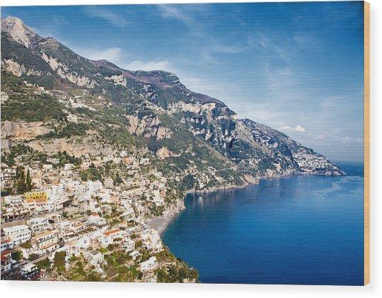 Seaside Town On The Amalfi Coast Wood Print